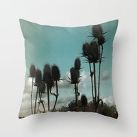 Prickly Teasels  Throw Pillow