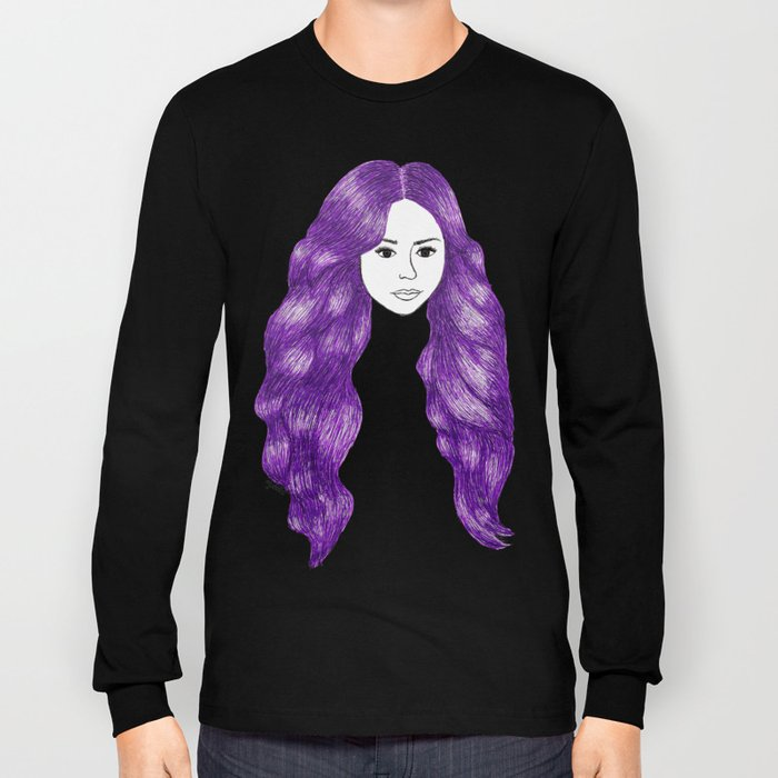 purple hair girl fashion illustration long sleeved shirt