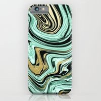 iPhone & iPod Case featuring MARBELLOUS IN MINT AND GOLD by Nika