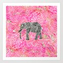 Pink Safari | Tribal Paisley Elephant Henna Pattern Art Print