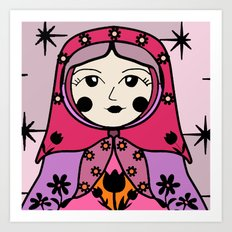 Matryoshka russian doll colorful illustration wall decor - Galina Art Print