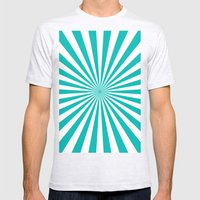 Starburst (Tiffany Blue/White) Mens Fitted Tee Ash Grey SMALL