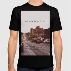 perks of being a wallflower - happy + sad Black SMALL Mens Fitted Tee