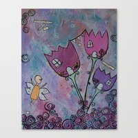 Canvas Print featuring At home with the Fairies by Cally's Creations