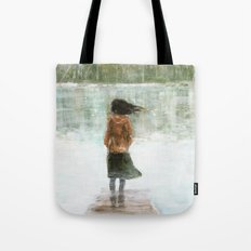 Girl on the pier Tote Bag