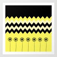 Yellow Dandelion Design Art Print