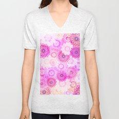Mandala Flowers in a Colorful Pattern Unisex V-Neck