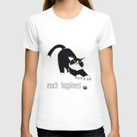 Much Happiness! Womens Fitted Tee White SMALL