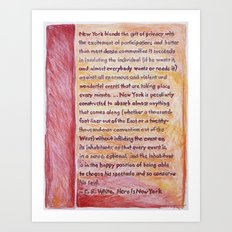 E.B. White on New York, from The Geography Series Art Print