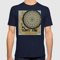 I Heart Funky Junk and Flowers Collage Mens Fitted Tee Navy SMALL