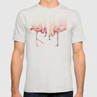 Two Flamingos Watercolor | Pink Rain  Mens Fitted Tee Silver SMALL