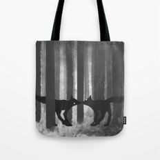 foxes in the forest Tote Bag