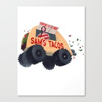 Canvas Print featuring Sam's Monster Taco Truck by ~emroca~