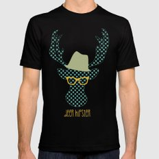 Deer Hipster Mens Fitted Tee Black SMALL