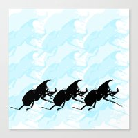 3 Scarabs Blue Canvas Print