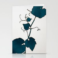 Teal Grape Leaves Stationery Cards