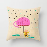 one of the many uses of a flamingo - umbrella Throw Pillow