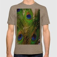 Peacock Feathers Mens Fitted Tee Tri-Coffee SMALL