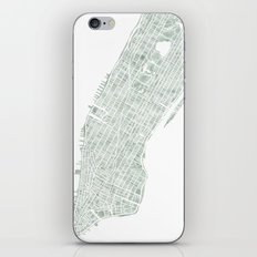 Map Manhattan NYC watercolor map iPhone & iPod Skin