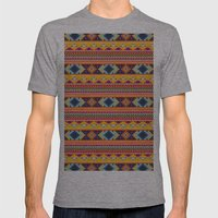 Navajo blanket pattern- orange Mens Fitted Tee Athletic Grey SMALL