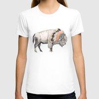 animal T-shirts featuring White Bison by Sandra Dieckmann
