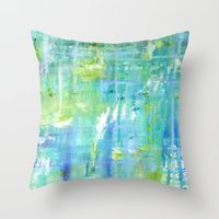 Greens and Blues Throw Pillow