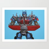 Optimus Prime Saves African Orphans - Transformers Art Print
