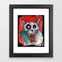 Blue Rage Zombie Cat Framed Art Print