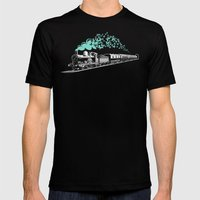 Butterfly Train Mens Fitted Tee Black SMALL