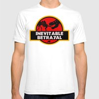 Jurassic Betrayal Mens Fitted Tee White SMALL