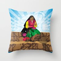 Paisana In Titicaca Lake… Throw Pillow