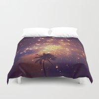 Palm Tree Fireworks Duvet Cover