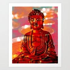 Red Buddha Art Print
