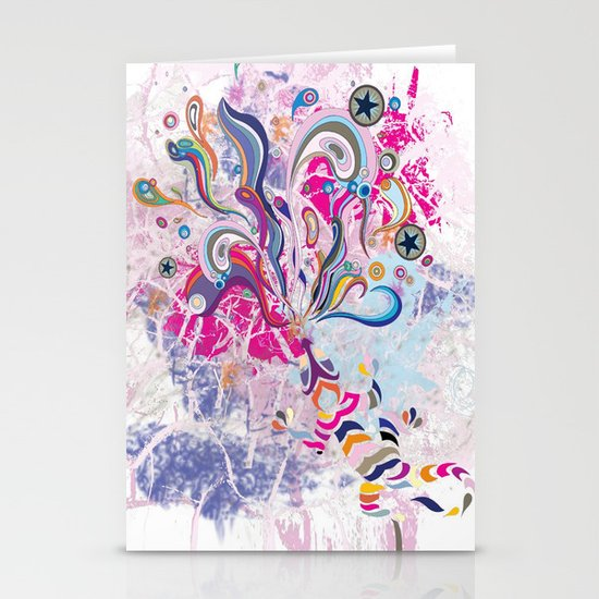 Groovy! Whimsical bright pink, purple chameleon paint splatters Stationery Card