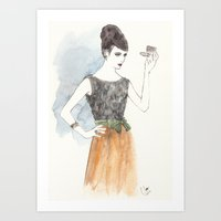 'Mary' Watercolor Fashio… Art Print