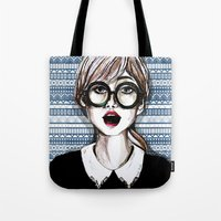 Girl and blue pattern Tote Bag