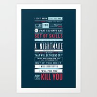Taken Typographic Quote Poster - Liam Neeson Art Print