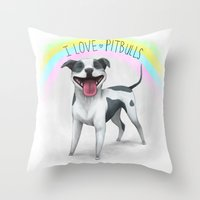 I Love Pitbulls Throw Pillow