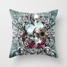 In the mirror.  Throw Pillow
