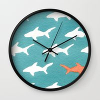 Splashy Sharks Wall Clock