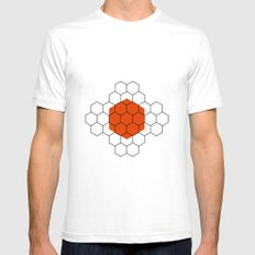 HEXAGON SMALL Mens Fitted Tee White