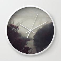 Bridge and River in Fog Wall Clock