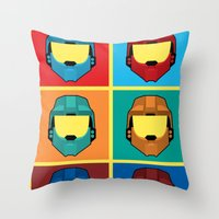 Warhol's Red vs Blue Throw Pillow