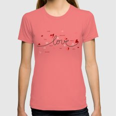 Love, Butterfly Hearts & Text Unique Valentine Womens Fitted Tee Pomegranate SMALL