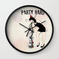 Party Hard - New Years E… Wall Clock