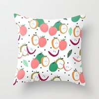 Apple print. illustration, art, print, design, pattern, fruit, food, fun, print design Throw Pillow