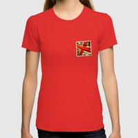 Sticker With UK Flag Womens Fitted Tee Red SMALL