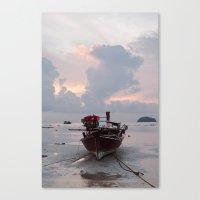 sunrise boat Canvas Print
