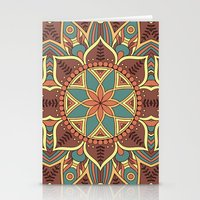 Blue & Brown Boho Floral Pattern Stationery Cards
