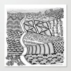 Zentangle Fields of Dream Black and White Adult Coloring Illustration Canvas Print
